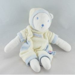 Doudou ours blanc écru bleu capuche SUCRE D'ORGE