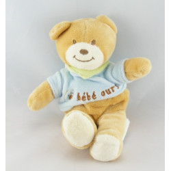 Doudou bébé ours bleu foulard vert AMTOYS BENGY