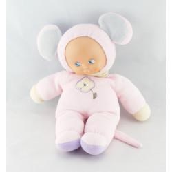 Doudou poupée chiffon fille rose AJENA
