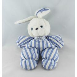 Doudou lapin blanc rayé bleu TARTINE ET CHOCOLAT NEUF