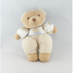 Doudou ours beige blanc imprimé lavande savon TARTINE ET CHOCOLAT