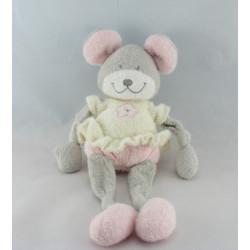 Doudou plat souris gris blanc fleur rose NICOTOY