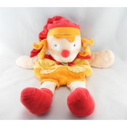 Doudou et compagnie clown orange rouge mouchoir do ré mi fa
