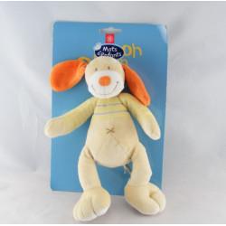 Doudou chien jaune orange MOTS D'ENFANTS