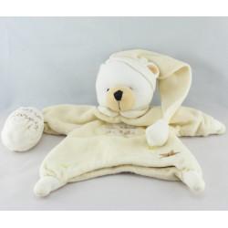 Doudou plat marionnette ours écru beige Poudre à dormir UN REVE DE BEBE