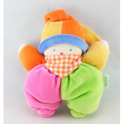 Doudou clown vert rose orange bleu COROLLE