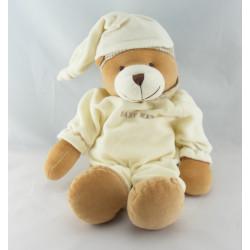 Doudou ours beige pyjama blanc vichy BABY NAT