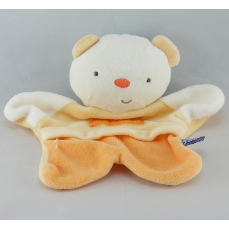 Doudou plat ours blanc orange SUCRE D'ORGE