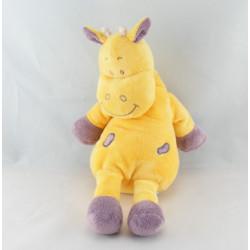 Doudou plat vache girafe jaune coeur violet INFLUX
