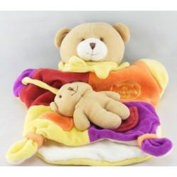 Doudou et compagnie plat ours Marcus jaune orange violet