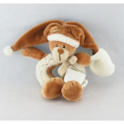 Doudou ours marron rapiécé avec mouchoir BABY NAT