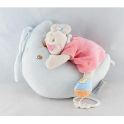 Doudou souris blanche robe rose fleurs NATTOU