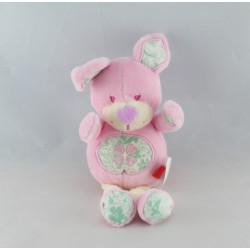 Doudou lapin rose fleur coeur TEX