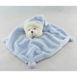 Doudou plat ours bleu rayé poche CMP