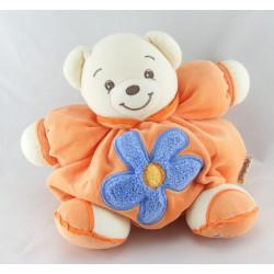 Doudou ours boule patapouf jaune fleur orange KALOO