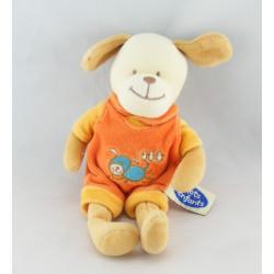 Doudou chien salopette orange MOTS D'ENFANTS