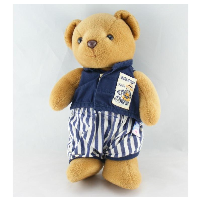 Doudou ours bleu marine Je Jardine SUCRE D'ORGE