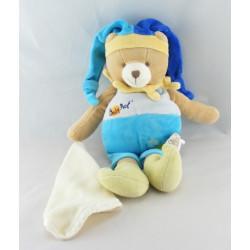 Doudou ours arlequin bleu avec mouchoir BABY NAT