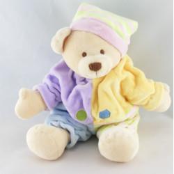 Doudou ours boule mauve vert jaune bleu avec bonnet CMP