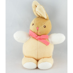 Mini doudou lapin beige rose hochet anneau en bois KALOO