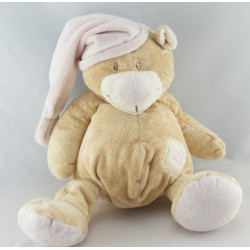 Doudou plat ours beige rose coeur DOUKIDOU