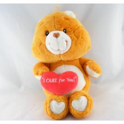 Peluche Bisounours orange coeur Grosbisous CARE BEARS 35 cm