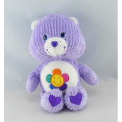 Peluche Bisounours mauve violet Grosfasol fleur CARE BEARS 20 cm
