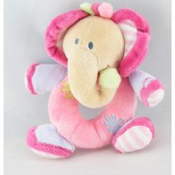 Doudou musical éléphant rose mauve fleurs NATTOU
