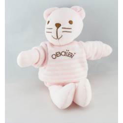 Doudou chat rose pull rayé rose OBAIBI