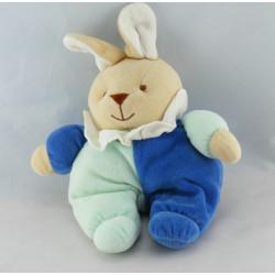 Doudou lapin bleu fleur papillon TEX