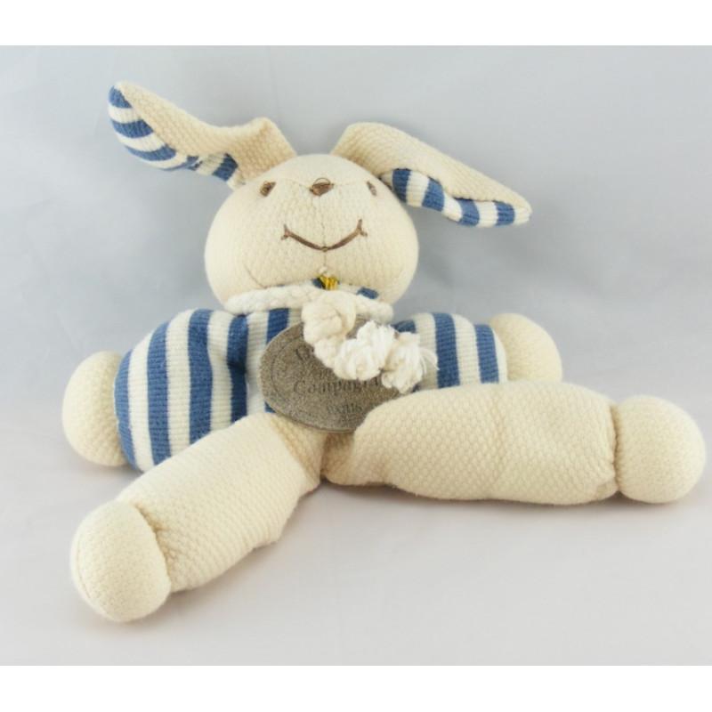 Doudou et compagnie pantin hochet lapin rayé bleu