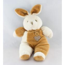 Doudou lapin blanc beige tête d'ours et coeur