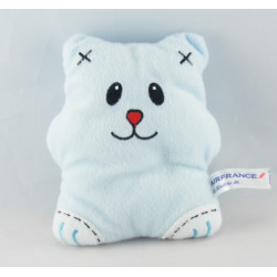 Doudou semi plat ours chat vert AIR FRANCE