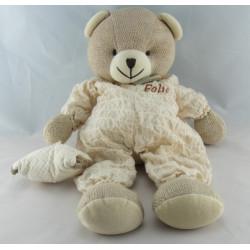 Doudou ours beige laine avec coussin DOUDOU ET COMPAGNIE