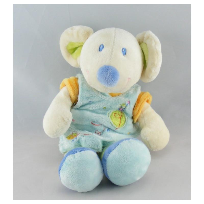 Doudou souris robe bleu MOTS D'ENFANT