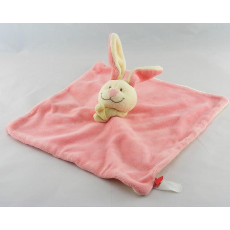 Doudou plat lapin rose foulard vert TEX