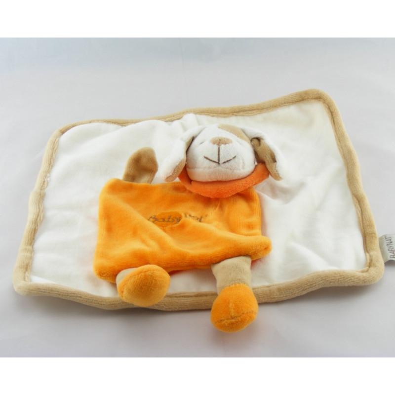 Doudou plat carré chien orange BABY NAT