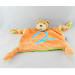 Doudou plat ours vert bleu chiffre 3 KALOO