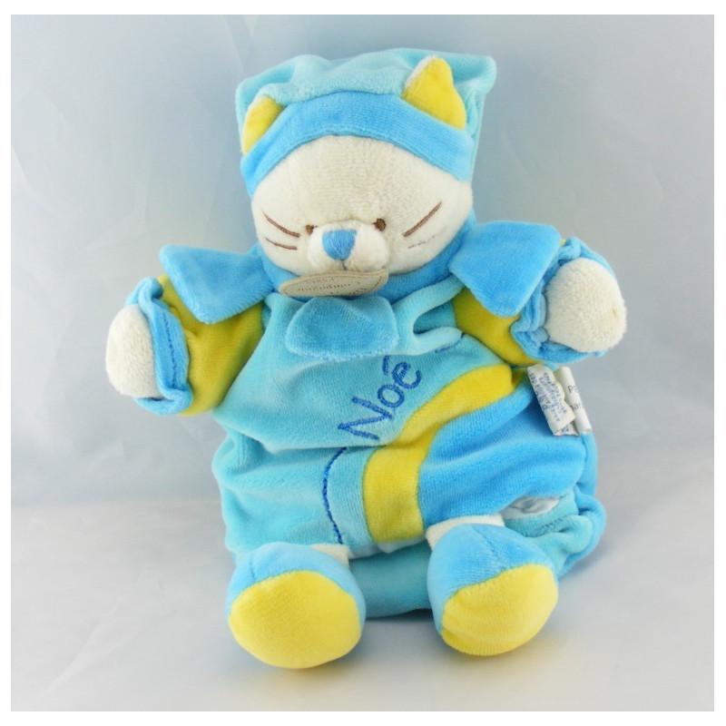 Doudou et compagnie plat marionnette chat bleu Noé