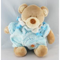 Doudou ours habit combinaison bleu TEX