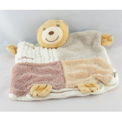 Doudou plat ours patchwork gris marron sable KALOO
