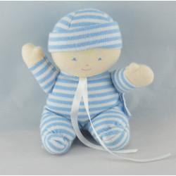 Doudou poupon bébé bleu marine rayé COROLLE