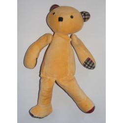 Doudou ours articulé beige vichy