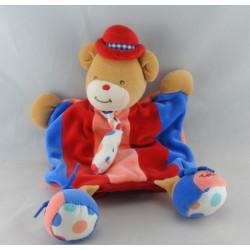 Doudou plat ours blanc rayé bleu TAKINOU
