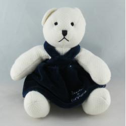 Doudou et Compagnie plat ours blanc bleu marine
