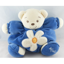 Doudou ours boule patapouf bleu fleur verte KALOO