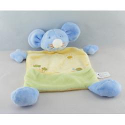 Doudou plat souris  bleu jaune vert escargot soleil brodé VETIR