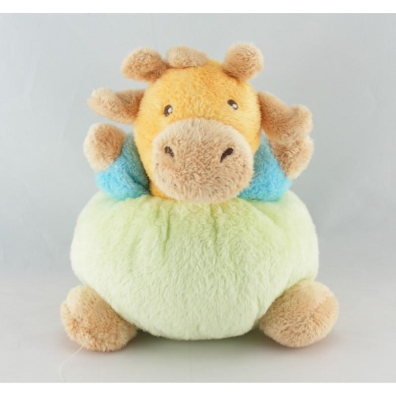 Doudou girafe vache verte jaune bleu NOUNOURS
