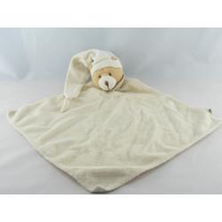 Grand Doudou plat ours blanc écru vichy beige BABY NAT