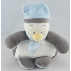 Doudou plat pingouin bleu blanc gris BENGY